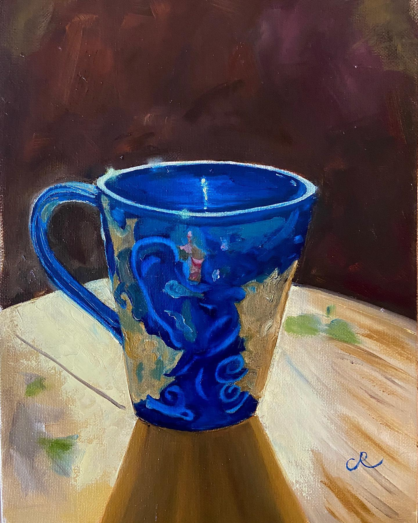 blue cup oil on canvas panel